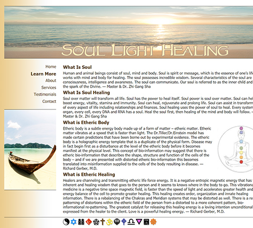 screenshot of soullighthealing.us.com